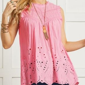Suzanne Betro Pink Sleeveless New Top
